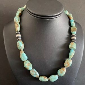 Jewelry - Sterling Silver Turquoise Bead Necklace. 18.5 inch